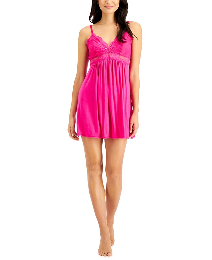 INC International Concepts - Lace-Trimmed Knit Chemise