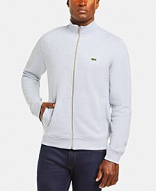 Men's Classic Fit Long Sleeve Solid Full-Zip Fleece Pique Sweatshirt