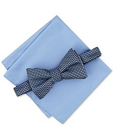 Men's Chevron Bow Tie & Solid Pocket Square Set, Created for Macy's