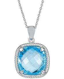 """Blue Topaz 18"""" Pendant Necklace (18 ct. t.w.) in Sterling Silver (Also in Pink Amethyst & Green Quartz)"""