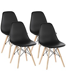 Mid-Century Modern Style Plastic Shell Dining Chair with Solid Beech Wooden Dowel Eiffel Legs, Set of 4
