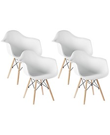Mid-Century Modern Style Plastic Shell Dining Arm Chair with Wooden Dowel Eiffel Legs, Set of 4