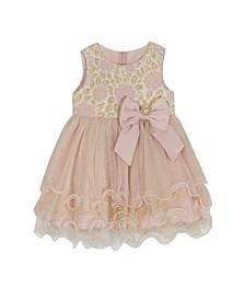 Baby Girls Brocade Bodice To Tiered Wire Hem Skirt