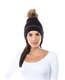 Women's Lurex Cuff Faux Fur Pom Hat
