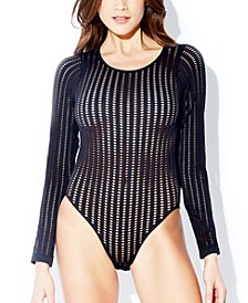 Brielle Stripe Pattern Lingerie Teddy with Snap Bottom