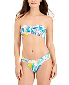 Wild Tropic Bandeau Bikini Top & Ruched Hipster Bikini Bottoms
