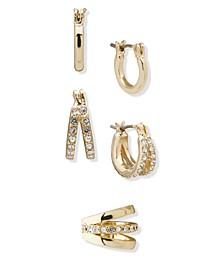 Gold-Tone 3-Pc. Set Pavé Huggie Hoop Earrings