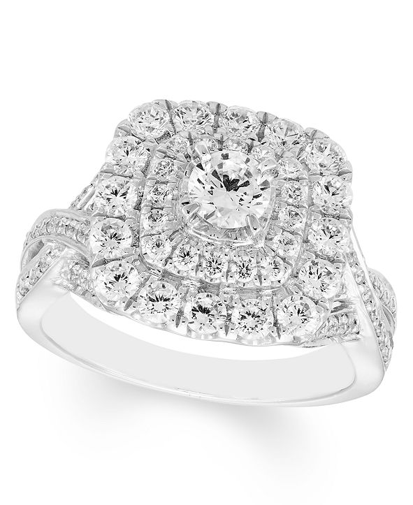 Macy's 1 1/2 Carat Diamond Double Halo Ring in 14K White Gold