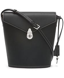 Large Lock Leather Bucket Bag
