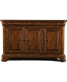 Evolution 2 Drawer 3 Door Credenza with Marble Top in Rich Auburn Finish Wood