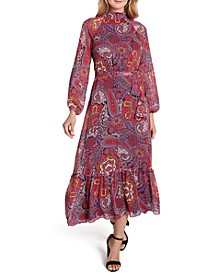 Paisley-Print Chiffon Midi Dress