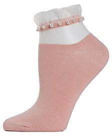 Sheer Ruffle Cuff Imitation Pearl Women's Anklet Socks