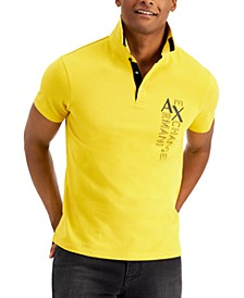 Men's Vertical Logo and Stripe Polo Shirt