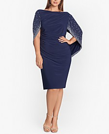 Plus Size Embellished Cape-Sleeve Dress
