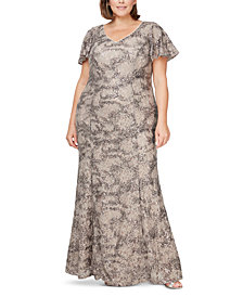 Alex Evenings Plus Size Sequin Lace Gown