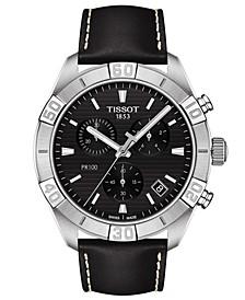 Men's Swiss Chronograph PR 100 Sport Black Leather Strap Watch 44mm