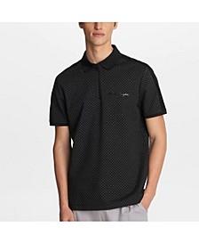 Men's Stretch Viscose Blend Diamond Print Polo T-shirt with Logo