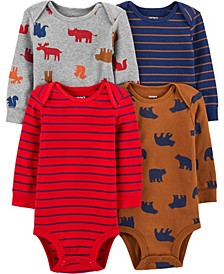 Carters Baby Boy 4-Pack Animals Original Bodysuits