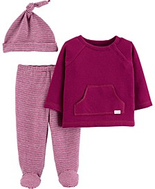 Carters Baby Girl 3-Piece Tee & Footed Pant Set