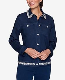 Women's Missy Denim Friendly Jacket with Boucle Trim