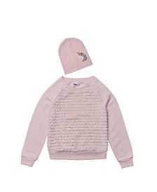 Big Girls Sweatshirt with Match Back Hat, Set of 2