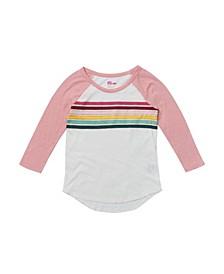 Big Girls 3 Quarter Sleeve Rainbow Chest Stripe Tee