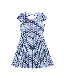 Big Girls Short Sleeve All Over Print Strappy Back Skater Dress