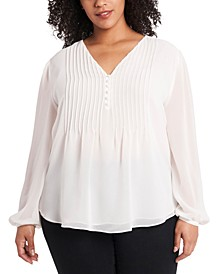 Trendy Plus Size Pintucked Blouse