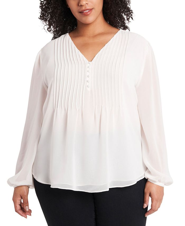 1.STATE - Trendy Plus Size Pintucked Blouse