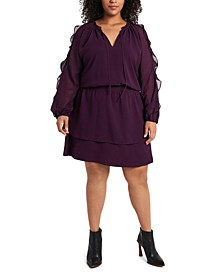 Trendy Plus Size Ruffled Cold-Shoulder Dress
