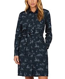 Salcombe Cotton Ship-Print Shirt Dress