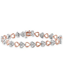 Diamond Heart Link Bracelet (1 ct. t.w.) in Sterling Silver & Rose Gold-Plated Sterling Silver