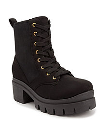 Sugar Women's Control Lug Sole Lace-Up Combat Booties