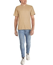 Men's Pima Cotton Karl Alphabet All Over Print T-shirt with Rib Knit Trims