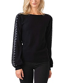 Black Label Embellished Blouson Sleeve Pullover Sweater
