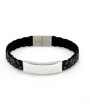 Men's Brai Ded Leather Id Bracelet