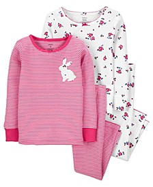 Carters Baby Girl 4-Piece Bunny 100% Snug Fit Cotton PJs