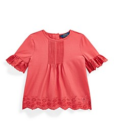 Toddler and Little Girls Eyelet Pintucked Top