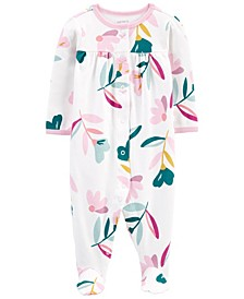 Carters Baby Girl Floral Snap-Up Cotton Sleep & Play