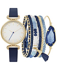 Women's Navy Blue Strap Watch 34mm Gift Set