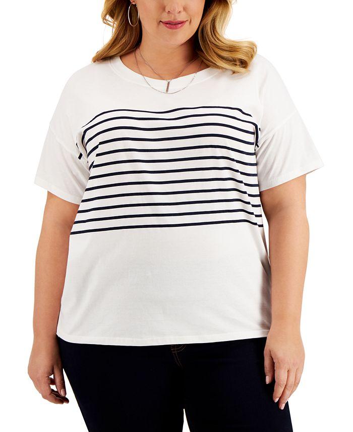 Style & Co - Plus Size Striped Cotton Drop-Shoulder T-Shirt