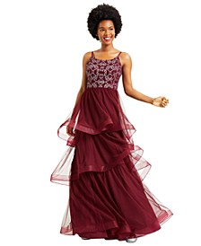Juniors' Glitter Tiered Tulle Ball Gown