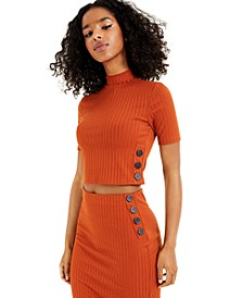 Buttoned Rib-Knit Top, Created for Macy's