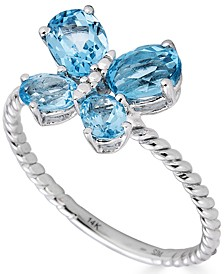 Swiss Blue Topaz Butterfly Ring (1 ct. t.w.) in 14k White Gold (Also in Rhodolite Garnet)