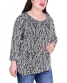 Women's Plus Size Elbow Sleeve Pullover with Drawstring Detail