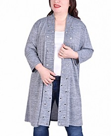Women's Plus Size 3/4 Sleeve Cardigan with Grommets