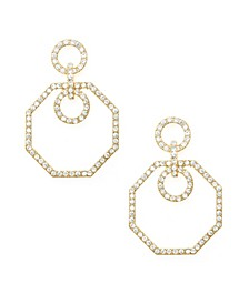 Crystal Circle Octagon Statement Earrings