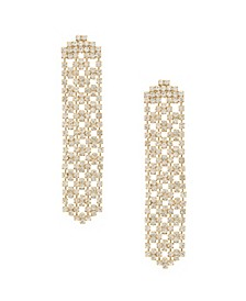 Linear Crystal Statement Chain Earrings