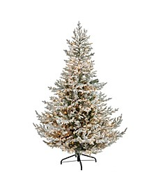 Flocked Fraser Fir Artificial Christmas Tree with 600 Warm Lights and 3852 Bendable Branches