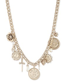 "Gold-Tone Pavé & Imitation Pearl Multi-Charm Statement Necklace, 16"" + 2"" extender"